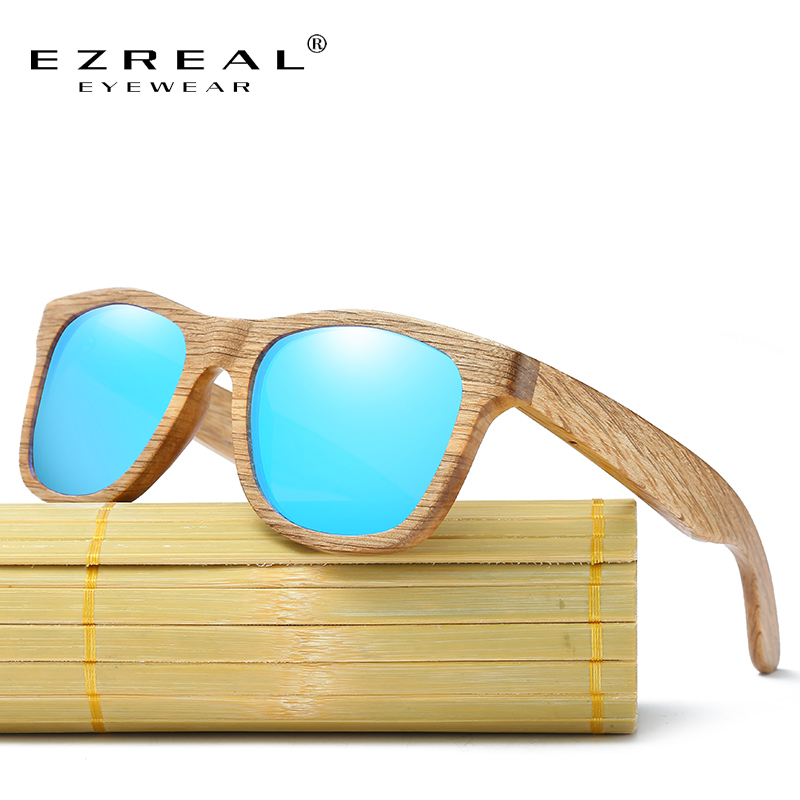 EZREAL Baru pria Du Kayu Terpolarisasi Kacamata Matahari Retro Pria dan Wanita Mewah Buatan Tangan Kacamata Kayu untuk Teman-teman sebagai Hadiah