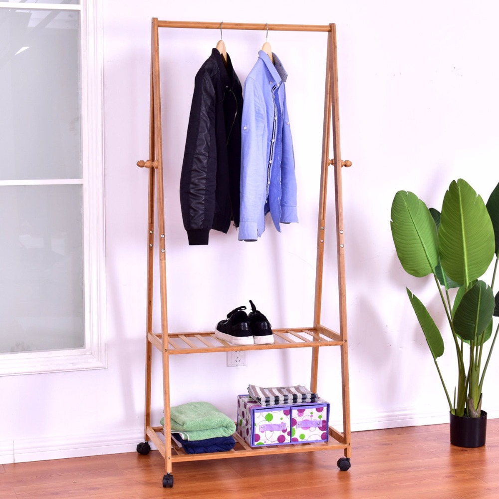 Giantex Portable Bamboo Garment Shelves Stand Clothes Organizer Coat Shoes Storage Rolling Laundry Rack Clothes Hanger HW56491 sucked hanging laundry hamper dirty clothes storage basket