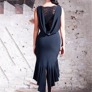 Image 5 - Latest Latin Dance Dresses For Ladies Black Colors Sleeveless Durable Skirts Wears Women Modern Ballroom Dresses Fashions B013