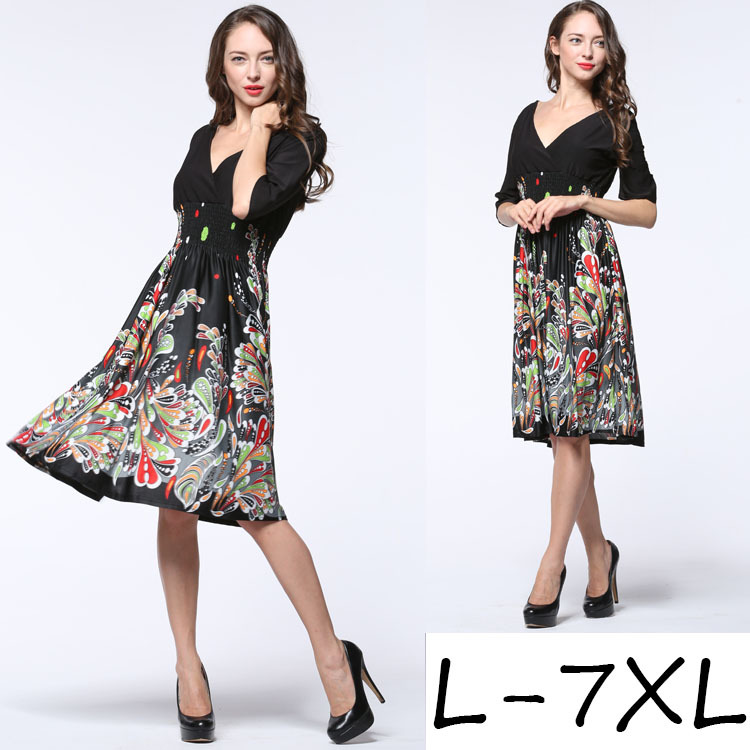 High quality Summer half sleeve V collar dress women large size XL XXL L 3XL 4XL 5XL 6XL 7XL dress