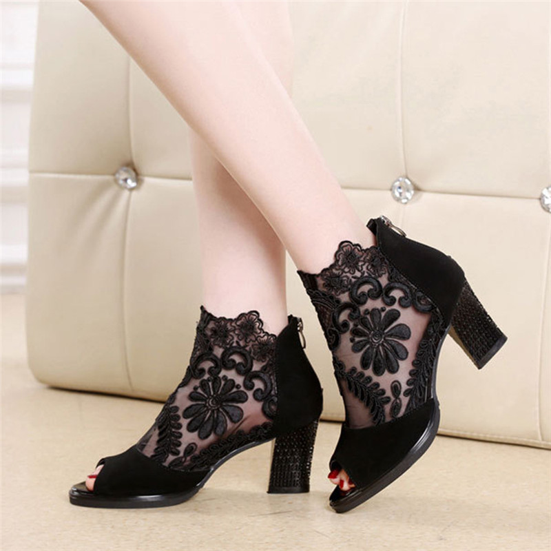 Lucyever Women Sandals Square High Heel Summer Shoes Woman Sexy Flower Lace Hollow Peep Toe Gladiator Sandalias Plus Size 35-43