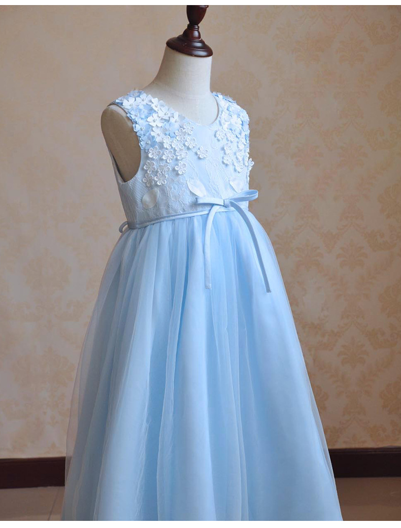 Flower Girls Dresses For Wedding Gowns Blue Toddle Pageant Dresses A-Line Mother Daughter Dresses Tulle Long Communion Dresses