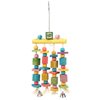 Colorful Parrot Pet Bird Macaw Hanging Chew Toy Bells Wood Blocks Swing Mix Color Chewing Toy