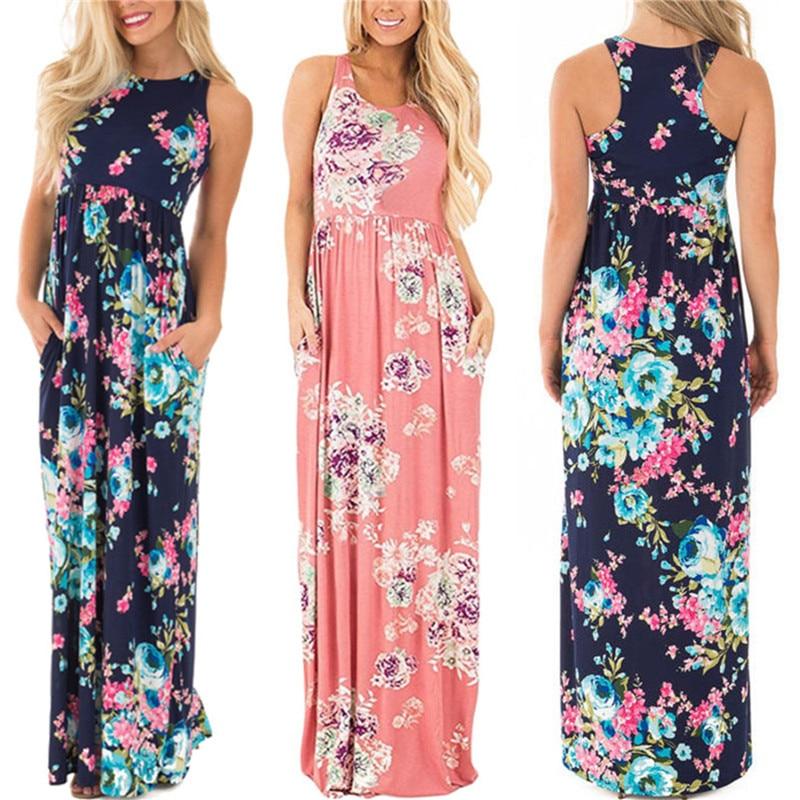 bacc29a9f85 2019 Summer Long Dress Floral Print Boho Beach Dress Tunic Maxi Dress Women  Evening Party Dress ...
