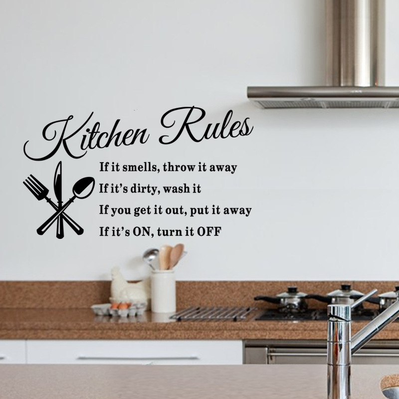 Creative Kitchen Wall Decor: Creative Our Kitchen Rules English Alphabet Black DIY Removable Wall Stickers Kitchen Home Decor