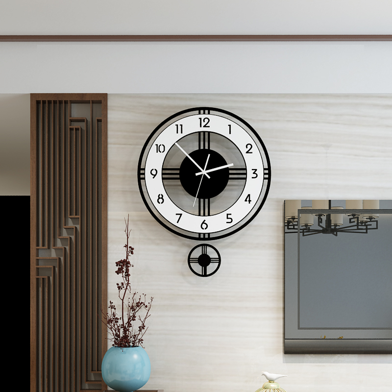 Swingable Silent Large Wall Clock Modern Design Battery Operated Quartz Hanging Clocks Home Decor Kitchen Watch Free Shipping(China)