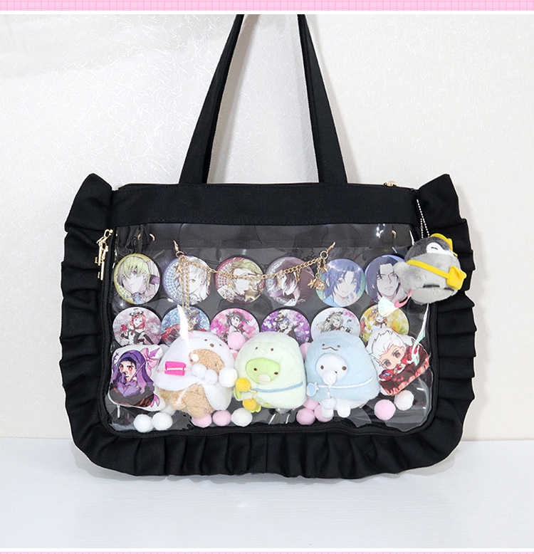 Harajuku Sweet Lolita Ruffles Canvas Ita Bag Messenger Bag Transparency  Clearly Handbag Shoulder Bag JK Uniform Itabag Cosplay