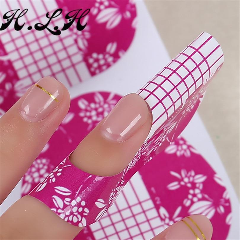 2018 h l h elegant purple horseshoe nail art foils tips extension guide nails forms for gel nail
