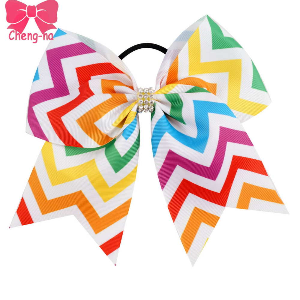 6pcs/lot7 Colorful Chevro Cheer Bow With Elastic Band For Girl Grosgrain Ribbon DIY Cheerleading Hair Bow Kids Hair Accessories