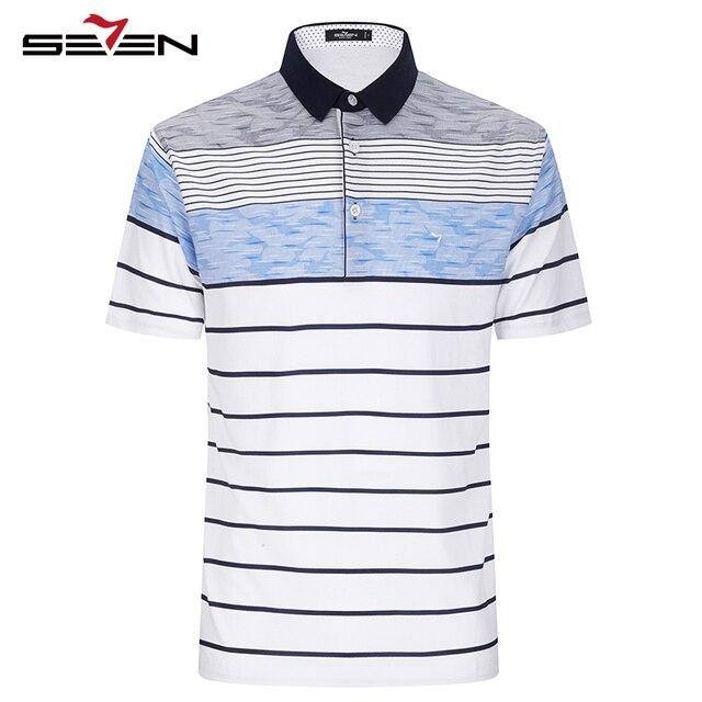 Seven7 Мужчины Polo Рубашки Летом С Коротким Рукавом Бизнес Случайный Polo Рубашки Классический Полосатый Блок Цвет Basic Polo Рубашки 112T50030