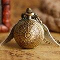 Presente de natal Relógio de Bolso Steampunk Bronze em Forma de Esfera Completa Hunter Bronze Copper Asa Modernas Da Web Padrão Crianças Das Mulheres Colar de Corrente