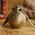Xmas Gift Pocket Watch Steampunk Bronze Ball Shape Full Hunter Bronze Copper Wing Modern Web Pattern Womens Kids Necklace Chain