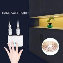 Светодиодный светильник с ручной волной, Диодная лента, 12 В, с регулируемой яркостью, с датчиком развертки, переключатель «сделай сам», светильник для кухонного шкафа, лампа для гардероба