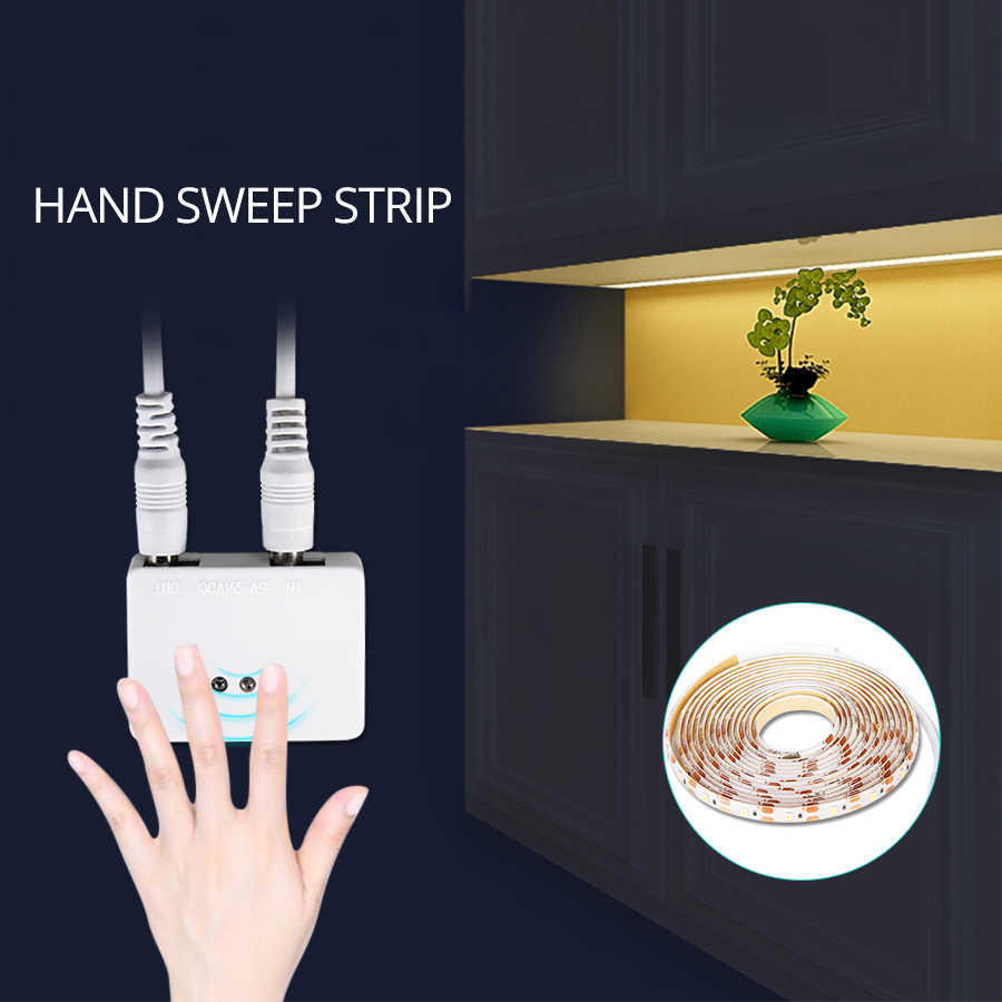 Hand Wave LED Strip Light Diode Ribbon Tape 12V With Dimmable Hand Sweep Sensor Switch DIY Kitchen Cabinet Lights Wardrobe Lamp