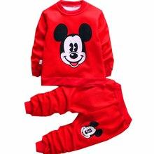 Модная осенне-зимняя одежда с дизайном «Микки» для мальчиков и девочек, детская шерстяная теплая одежда, пальто, свитер, штаны, Рождественская футболка