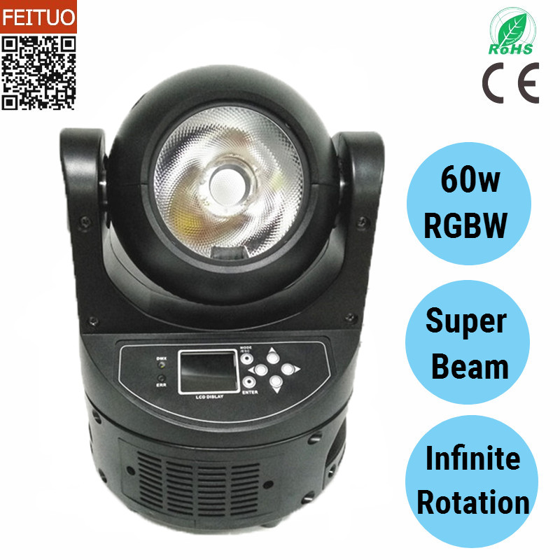 free shipping 60w LED Beam Moving Head Spot Light RGBW 4IN1 DMX 60W Stage Party Bar Show Wedding DJ Lighting spot moving head