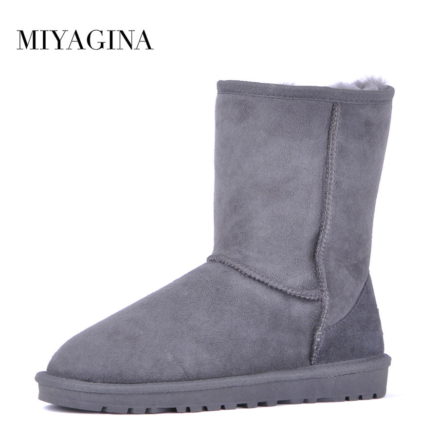 Top Quality 100% Genuine Sheepskin Leather Classic Snow Boots Winter Natural Fur Middle Boots Women Shoes australia classic lady shoes high quality waterproof genuine leather snow boots fur winter boots warm classic women ug boots