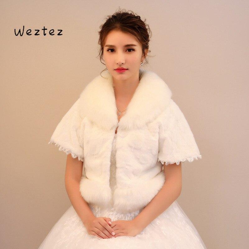 Winter Bridal Fur Shawls Wedding Fur Wraps Wedding Bolero Jacket Bridal Shawl Sleeve In The Wedding PJ99