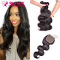 "3 bundles Brazilian Body Wave With Closure Brazilian Virgin Hair with Closure 8""-28"" Human Hair Weave Bundles With Closure Soft"