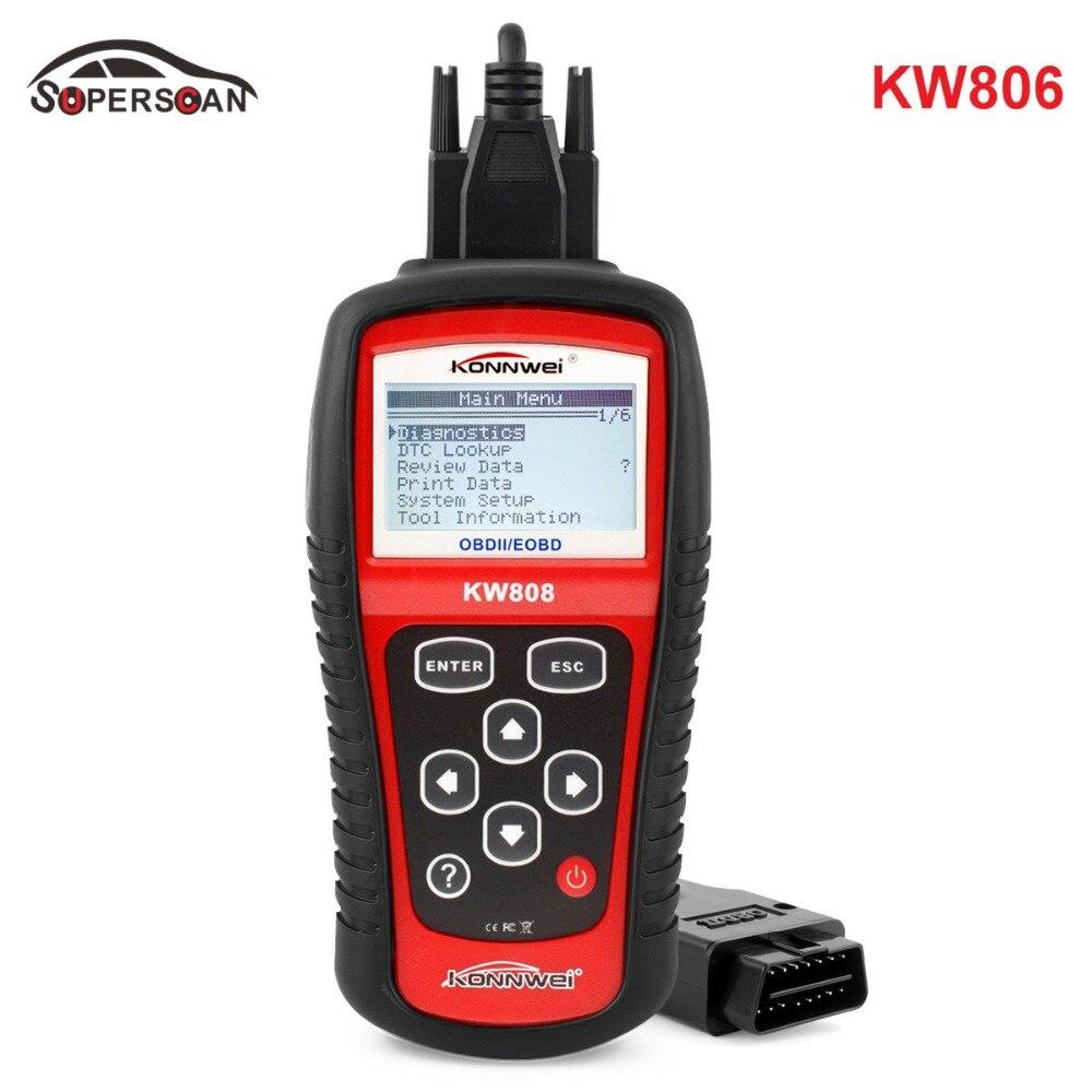 Professional Car Tester OBD KONNWEI KW808 OBD2 OBDII EOBD Auto Scanner Diagnostic Code Reader CAN Engine Reset Tool Free Shiping kw807 2 8 lcd obdii eobd car diagnostic auto scanner red black