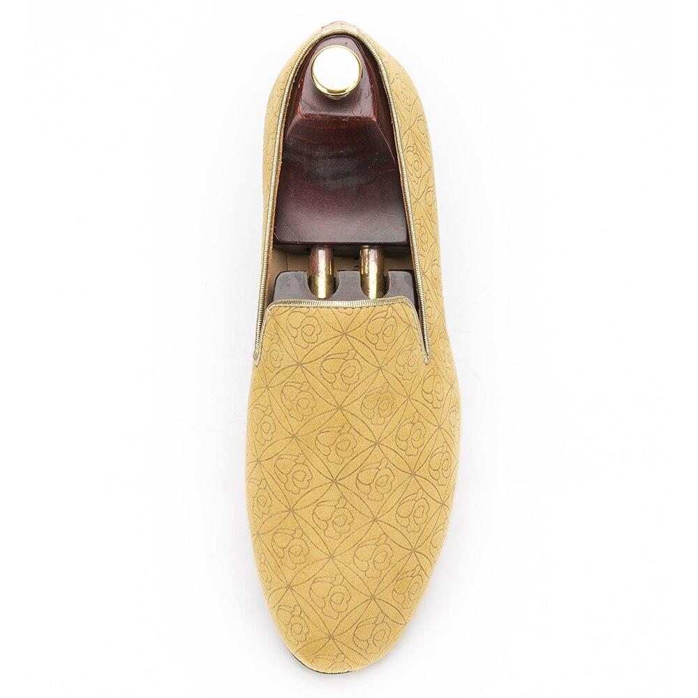 2017 nouvelles chaussures à la main en daim Floral jaune pour hommes avec fond en cuir véritable et semelle intérieure et mocassins pour hommes - 3