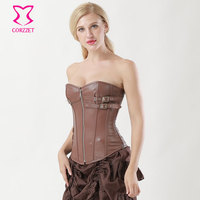 Sexy Zipper Steampunk Corselet Waist Trainer Leather Shapewear Gothic Soft Bustiers PVC Overbust Corset Top Gothic Clothing