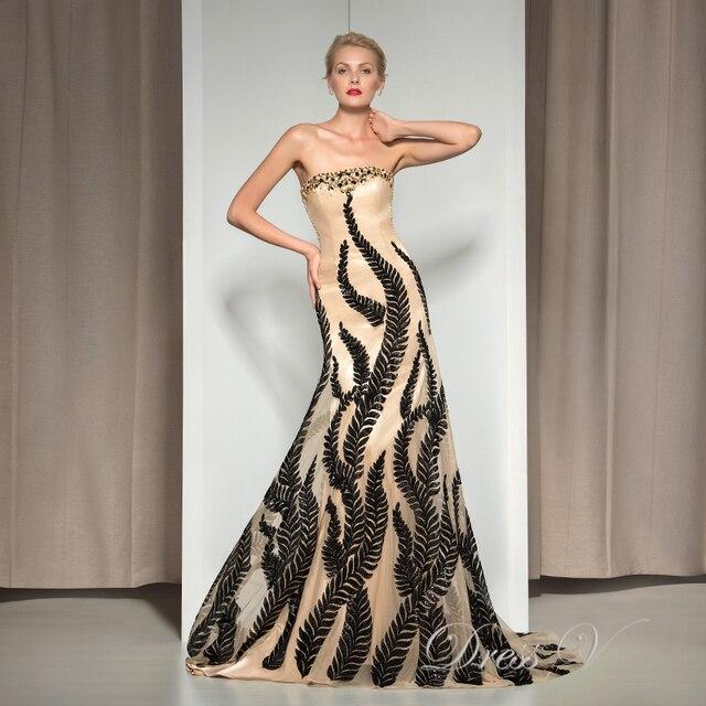 Designer Vintage Evening Dresses 2017 Strapless Mermaid Black Leaf ...