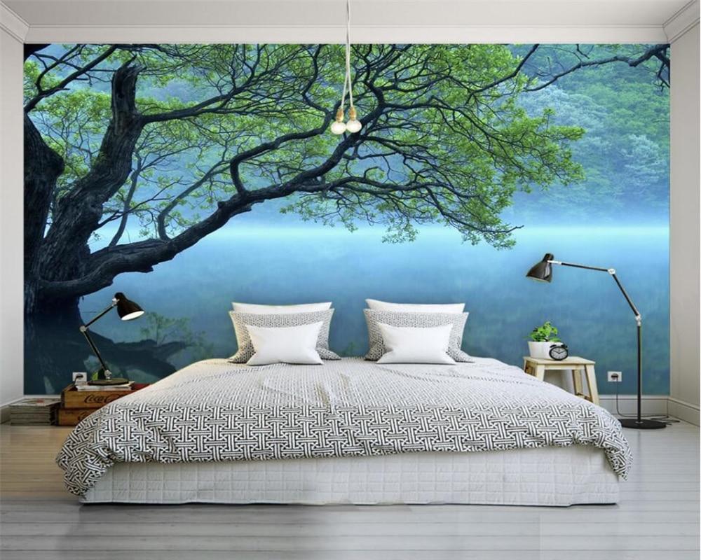 US $8 85 OFF Beibehang Foto Kustom Wallpaper Modern 3D Wallpaper Pemandangan Pohon Seni Desain Kamar Tidur Kantor Ruang Tamu Wallpaper Dinding