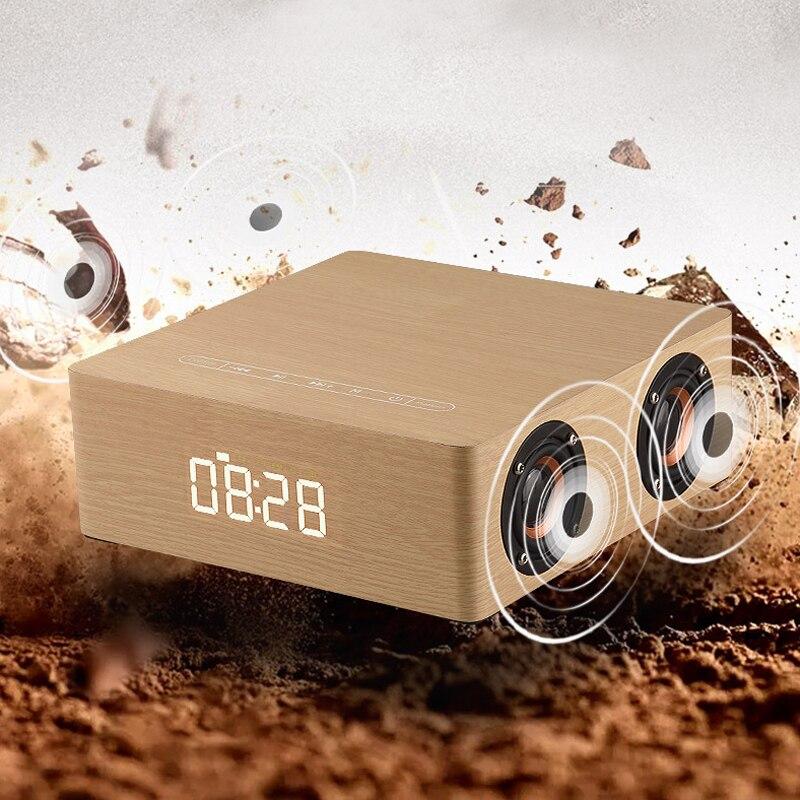 Q5C horloge Portable sans fil Bluetooth haut-parleur colonne Subwoofer musique boîte de son LED temps Snooze réveil pour téléphone Portable