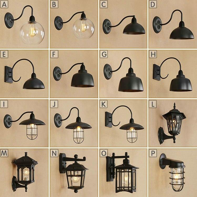 AC 110v 240v Indoor Outdoor Vintage Waterproof Wall Lamp E27 Led Bulb Black Metal Body Retro Light Foyer BedRoom Diningroom
