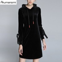 Autumn Winter Pleuche Dress Black Hooded Hollow Out Bow Full Sleeve Women S Clothes Velvet Spring