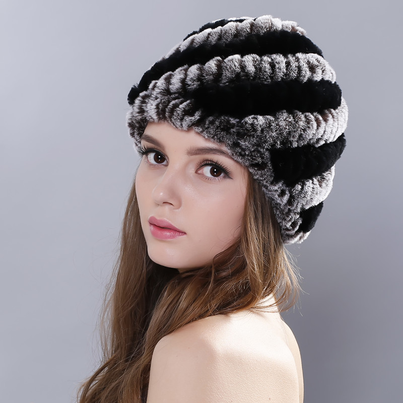 Fur Hat Guarantee 100% Natural Genuine Rex Rabbit Ear Ears Cap Knitted Hats Winter Fashion Women Beanies bone Warm Pineapple Cap russian hats for extremely cold fur hat guarantee 100