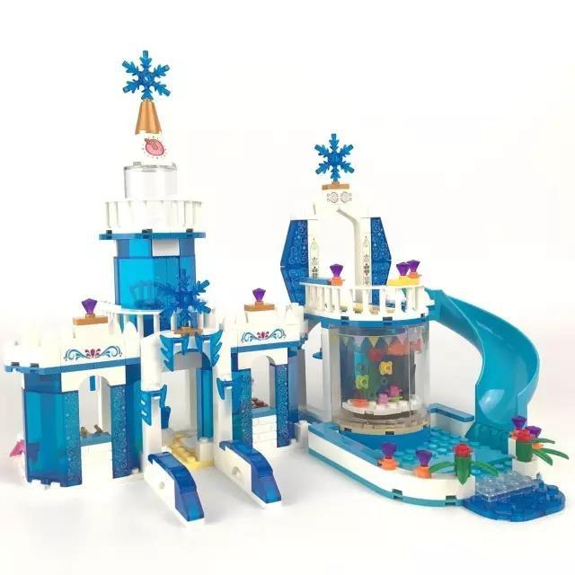 344pcs Snow Princess Elsa Ice Castle Princess Anna  2 In 1 Set Model Building Blocks Gifts Toys Compatiblegirl's DIY Model