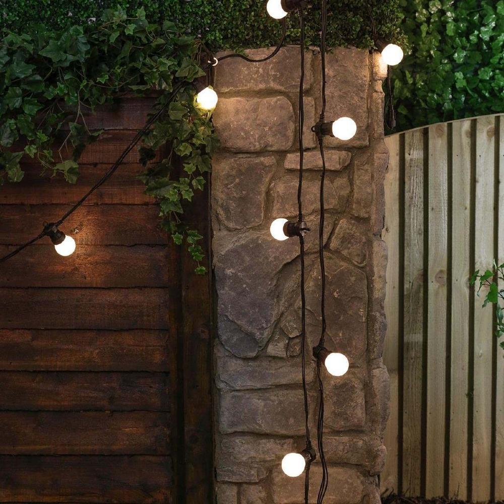 15M 20 Bulb Connectable Vintage Festoon ball string Lights 75LED Christmas fairy lights for outdoor patio party Garland Lighting