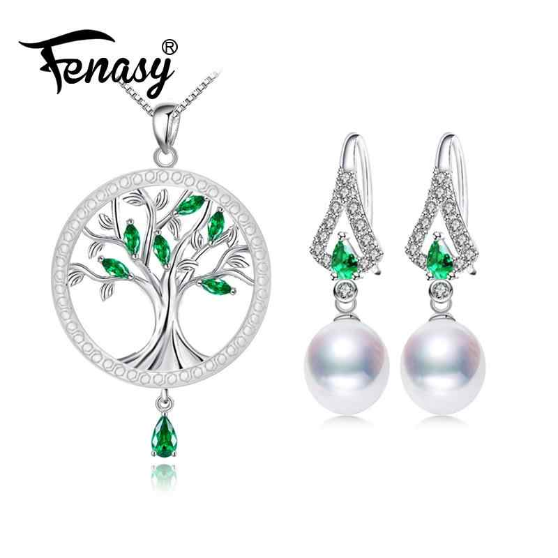 FENASY Trendy Pearl Jewelry Sets Bohemian 925 Sterling Silver Pendant Necklace Earrings For Women Emerald Ethnic Earrings