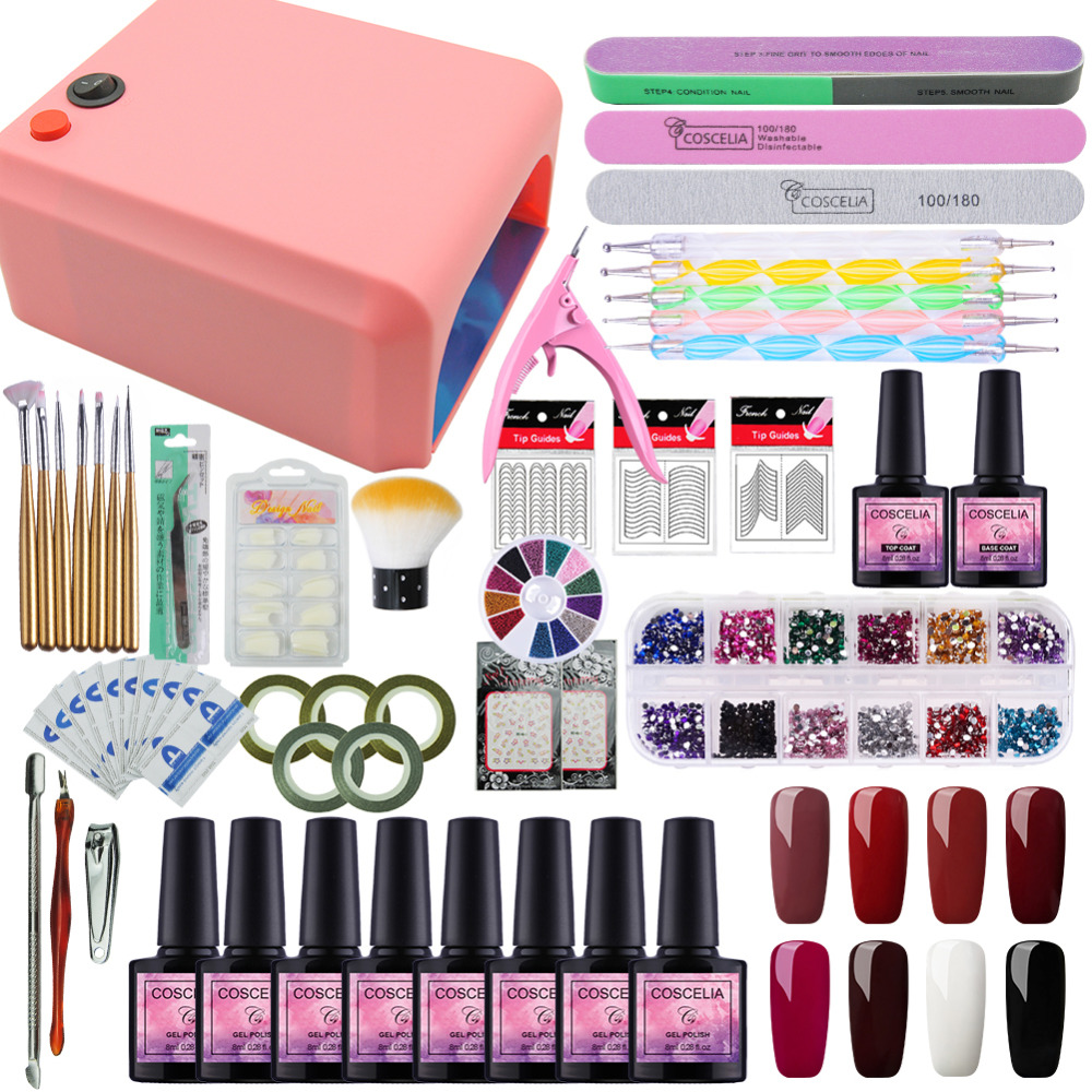 COSCELIA Nail Art Pro DIY Full Set Soak Off UV Gel Polish Manicure Set Nail Dryer Lamp Kit 8 Colors&Base Top Set Nail Tools nail art salon supplies kit tool uv gel nail polish diy makeup full set manicure set free shipping