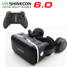 Vritual Reality Shinecon 6.0 Headphone Version VR Glasses Headset Helmet 3D Box For 4.5-6.0 Smartphones With Gamepad
