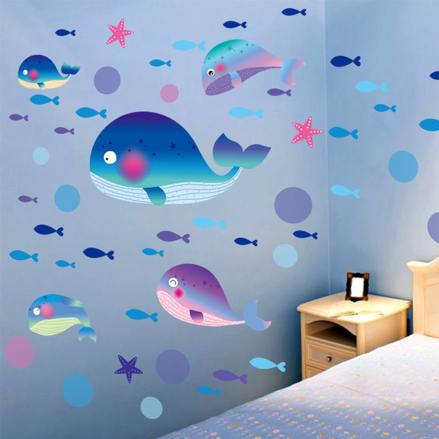 cartoon little whale wall sticker vinyl diy blue whale starfish wall