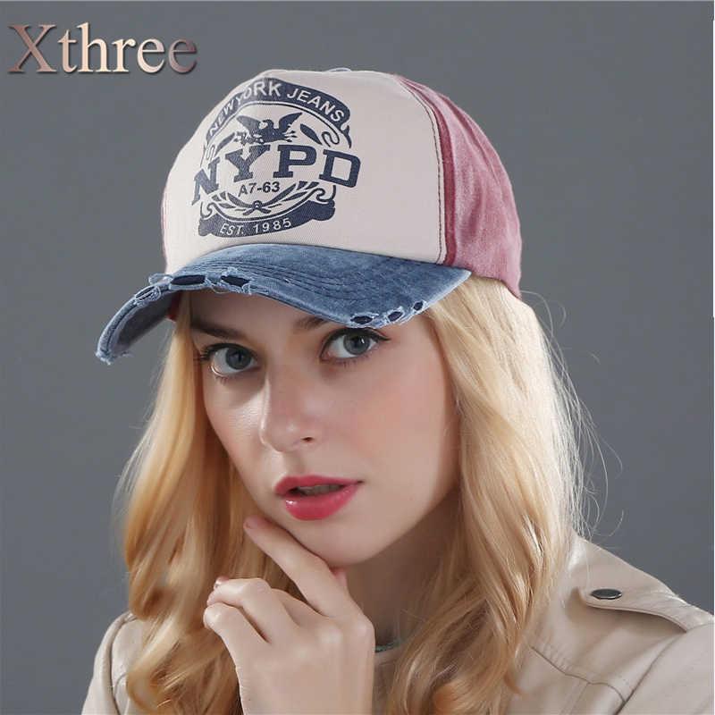 Xthree wholsale العلامة التجارية كاب قبعة بيسبول جاهزة قبعة عارضة كاب gorras 5 لوحة الهيب هوب قبعات ترد لمكانها غسل كاب للرجال النساء للجنسين