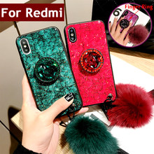 Diamond Marble pattern Glitter For Xiaomi Redmi 5 Plus 6 Plus 6A Cases Bling Violet Emerald Rhinestone case Hairball Lanyard(China)