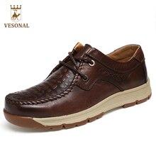 Vesonal Новинка 2017 года брендовая мужская повседневная обувь для взрослых мужской натуральная кожа осень качество ходить драйвер ручной работы Оксфорды обувь Человек