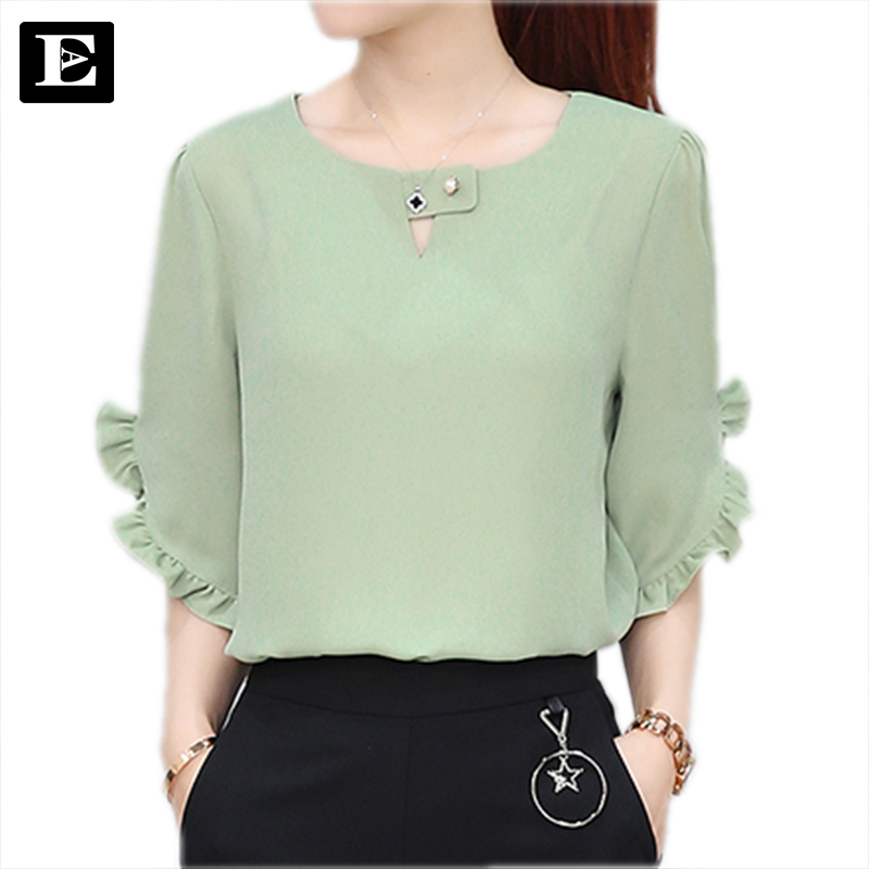 EvelingAsky Store EveingAsky 5 colors 2017 Lotus leaf sleeves women blouse  women chiffon shirts women's clothing ladies tops