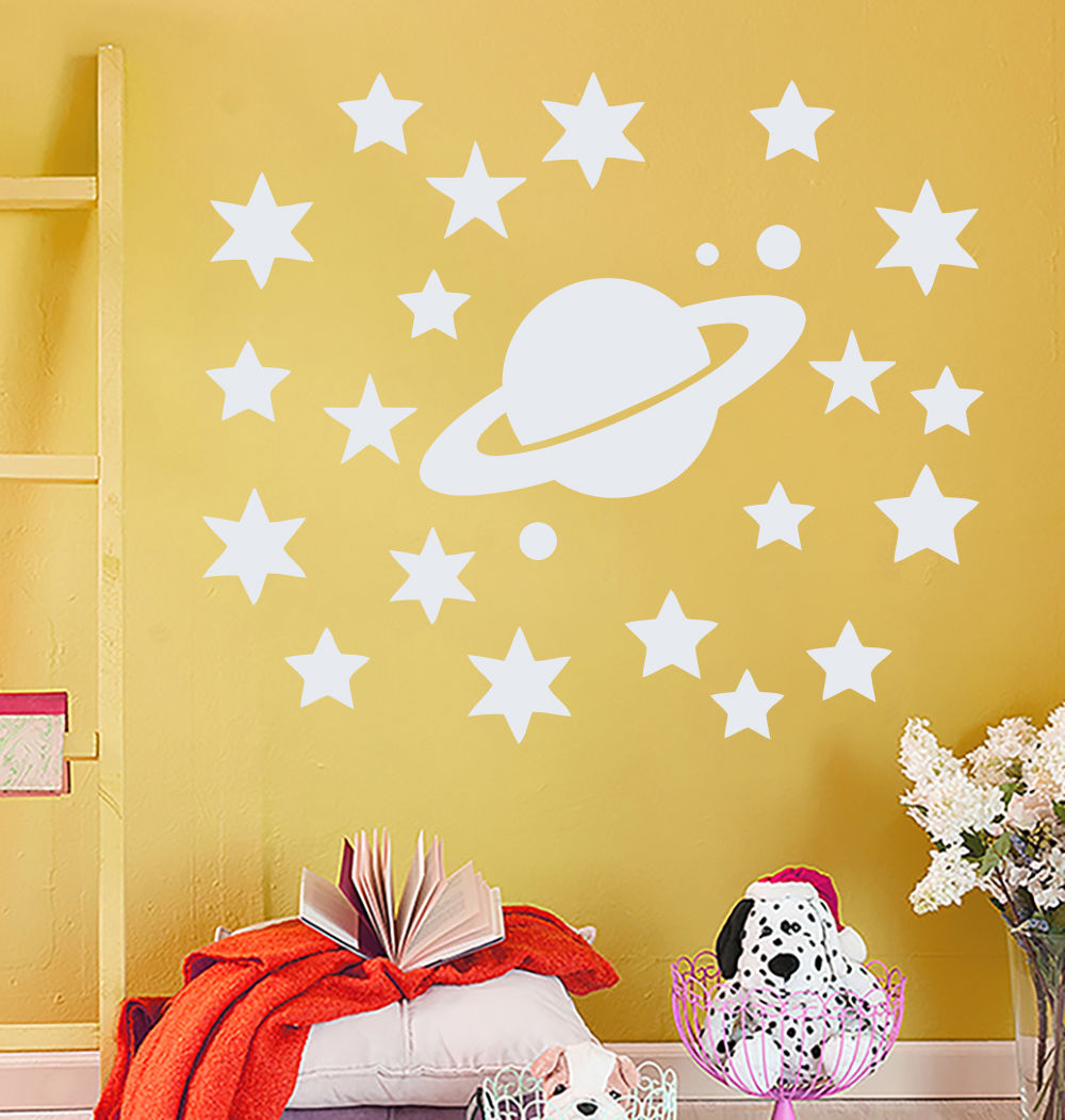 Star Moon Space Wall Decal Vinyl Sticker Home Decor Removable PVC ...