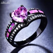 Blaike, розовое сердце, циркон, однорядные, Розовый огненный опал, кольца для женщин, Черное золото, заполнены, модные украшения для помолвки, подарки на Хэллоуин