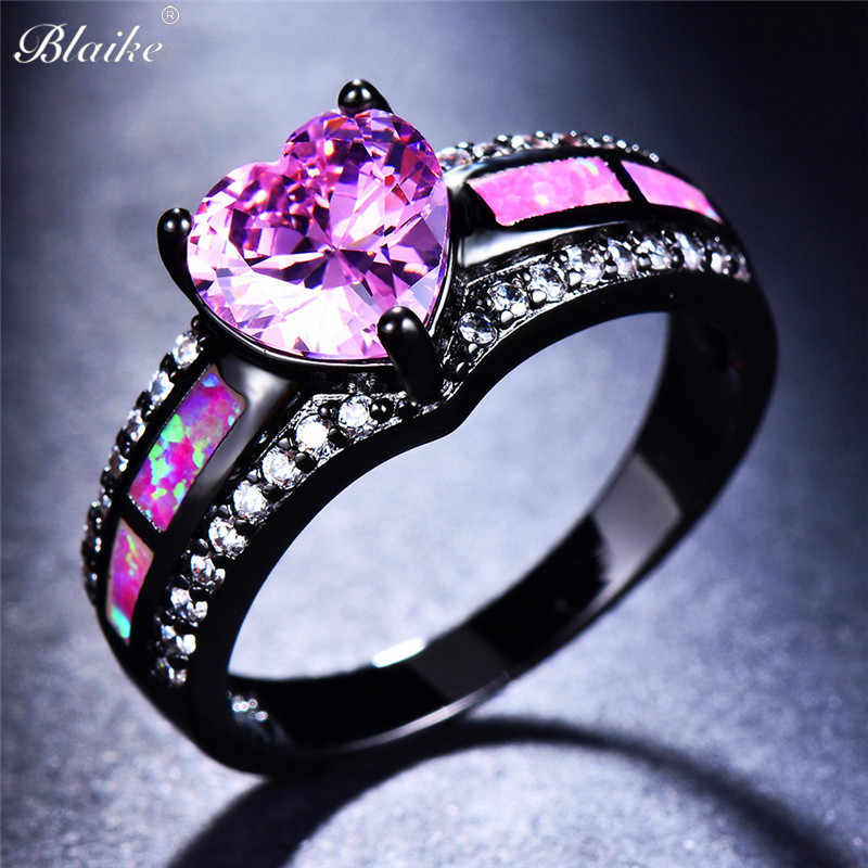Blaike Pink Heart Zircon Single Row Pink Fire Opal Rings For Women Black Gold Filled Fashion Engagement Jewelry Halloween Gifts
