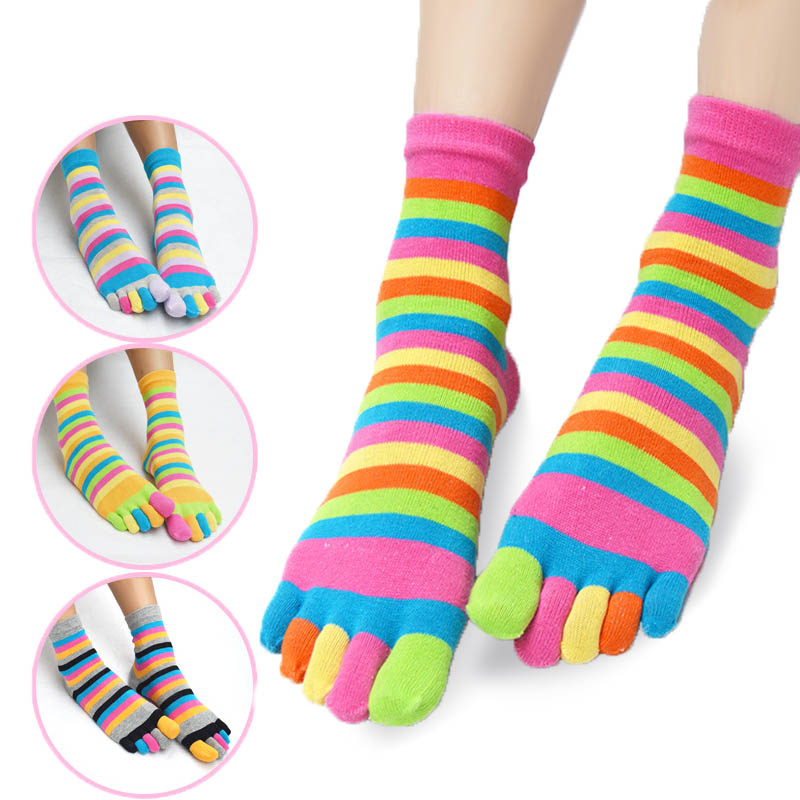 Hot Five-fingered Socks Fashion Women Funny Stripe Tow Socks Cotton Casual Soft Socks With Toes Colorful Women Short Hosiery Бюстгальтер
