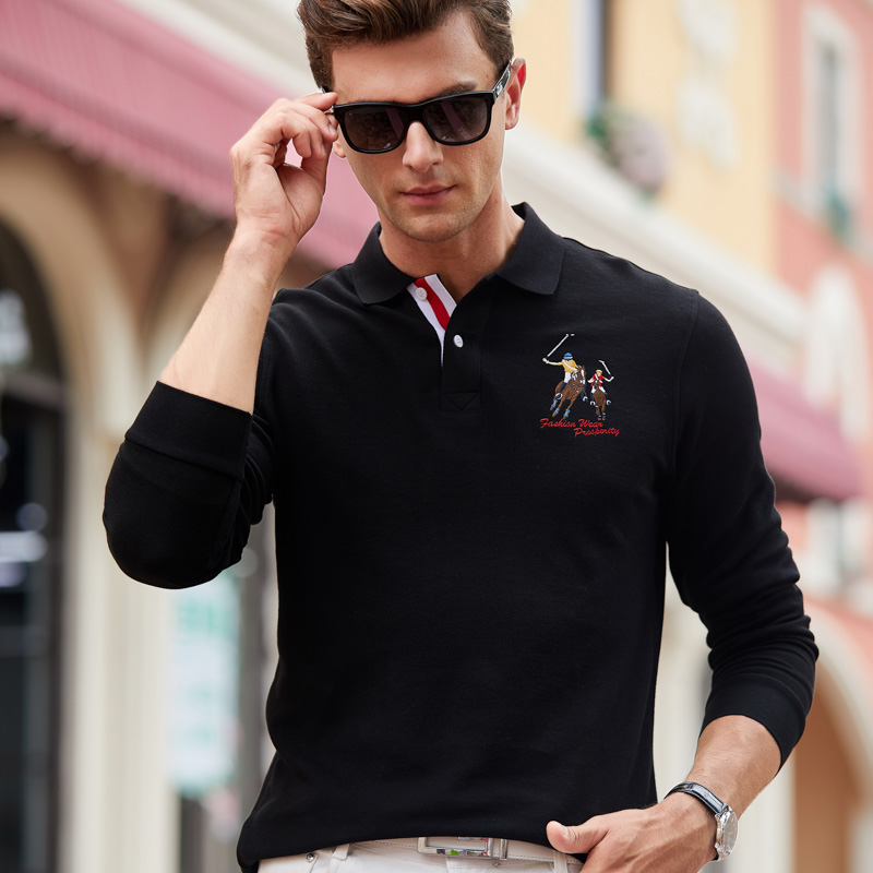 Men Polo Shirt Long Sleeves Embroider Cotton Business Casual Striped Solid Cloth