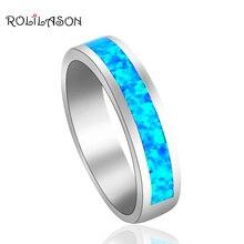 Лаконичный дизайн розничная Новое поступление синий огненный опал серебряные кольца модные ювелирные изделия размер США#6,75#7,75 OR762