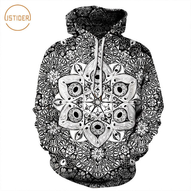 5a34deb359 ISTider Black/White Mandalas 3D Woman Men Sweatshirt With Hood Korean Hoodie  Oversize Casual Pullover Couples Clothes Tracksuits