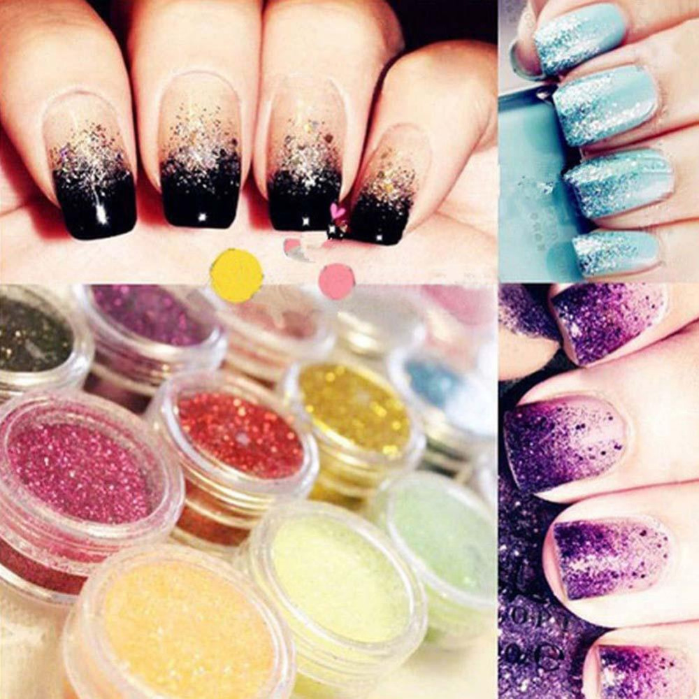 12pcs mix colors acrylic nail art dust powder decoration for Acrylic nail decoration